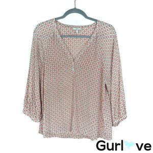 Joie Size M Silk Printed Henley Blouse
